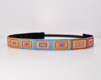 Non Slip Headband - Multi-Color Cubic - Skinny Headband - Running Headband - Bold Print Headband - Fitness Headband - Yoga Headband