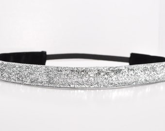 Glitter Headband - Silver Headband - Sparkle Headband - Team Headbands - No Slip Headband - Running Headband - Dance Headband - Cheer Hair