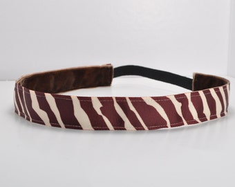 CLEARANCE Zebra Fitness Headband - Brown | Non slip headband | Workout Headband | Yoga Headband | Running Headband | FREE SHIPPING Offer