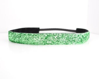 Glitter Headband - Sparkle Headband - Green Headband - Non Slip Headband - No Slip Headband - Running Headband - Dance Headband - Cheer Hair