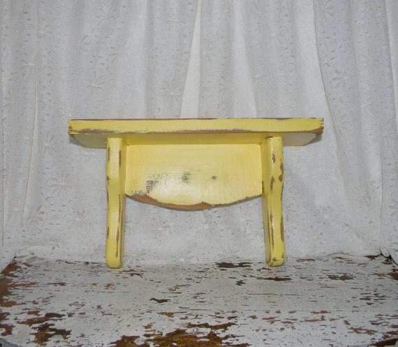 Shabby Chic Shelf Wall Decor Distressed Yellow Black Friday Cyber Monday Sale