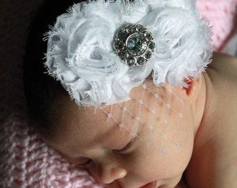 Double Pure White Shabby Flower on White Skinny Elastic Headband w/ Birdcage Veil - Newborn - Baby-  Child - Girl - Photo Prop