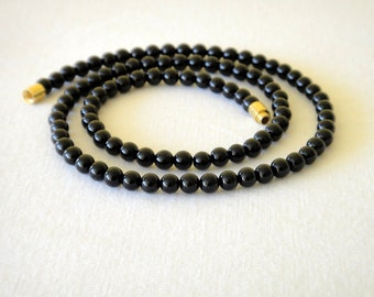 "Black Onyx Necklace 4mm 16"". Genuine Natural Stone Beads. 4mm Black Onyx Beads. MapenziGems"