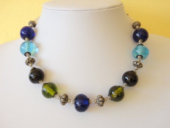 Handmade Recycled GLASS and Ethiopian Silver Beads Necklace FREE Earrings Upcycled Kitengela Glass Multi Color. MapenziGems G06
