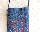 Embroidered Cross Body Bag,with Beads, Recycled Denim Jeans