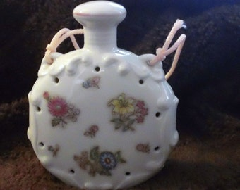 Vintage Pomander Made in Japan Ceramic White Yellow Pink Blue Floral