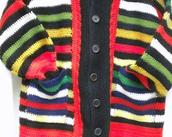1970s Vintage Handmade Crocheted Striped Multi-Color Button Front Sweater with Pockets L/XL