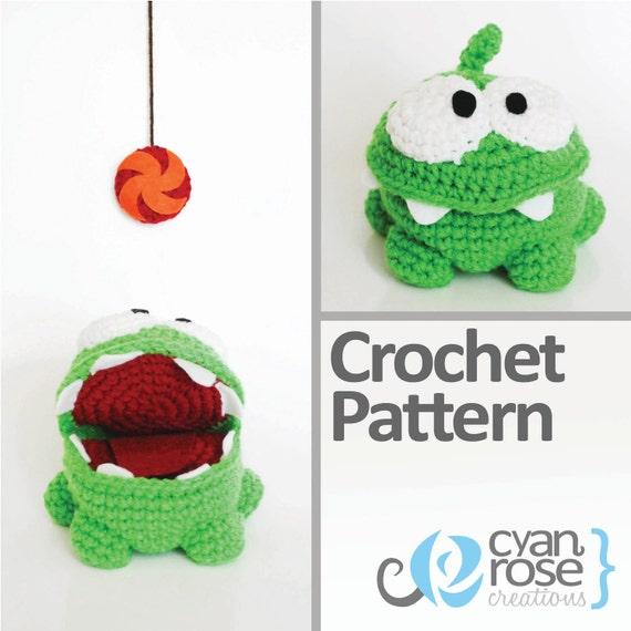 Om Nom Crochet Pattern - Instant Download - Om Nom, from Cut The Rope - Amigurumi Doll CROCHET PATTERN ONLY