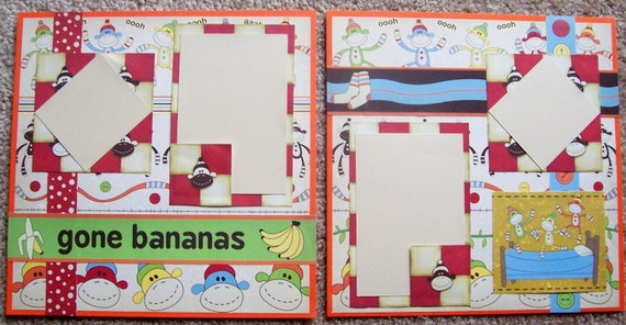 "Sock Monkeys 12 x 12"" Premade Scrapbook Pages"