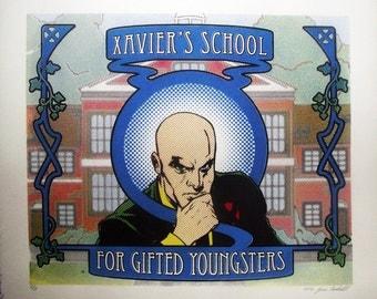 X-Men Professor X Pop Art Nouveau Lichtenstein hand-pulled silkscreen print