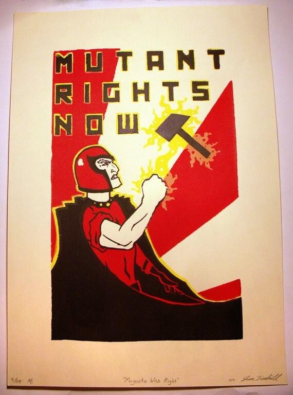 X Men Magneto Propaganda Hand Pulled Silkscreen Print