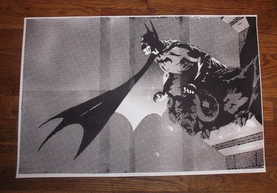 Batman Dark Knight Pop Art hand-pulled silkscreen print Black & White LAST COPY