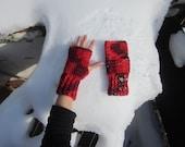 Red Crochet Fingerless Mittens Wrist Warmers Handknit Wool Gloves Multicolor Ski Winter Accessoriesby dodofit on Etsy