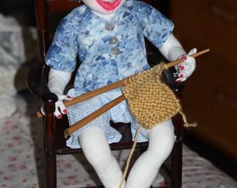 "Handmade OOAK 16"" Sitting, Knitting Doll"