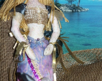 Mermaid Fabric/Cloth Art Doll Handmade OOAK