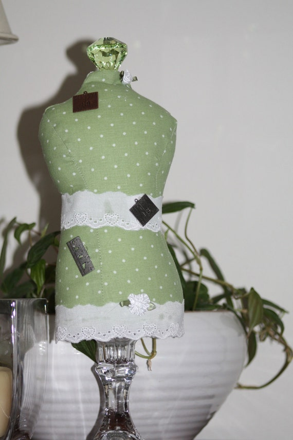 Dressmaker Form Pin Cushion Mannequin Green and White Polka Dot Print Handmade One of a Kind