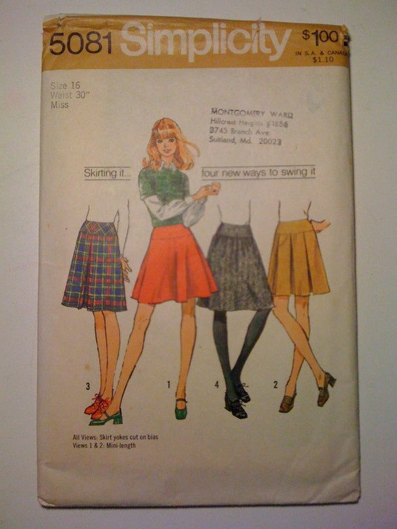 Misses Skirts Simplicity Sewing Pattern 5081 Size 16 70s Sale