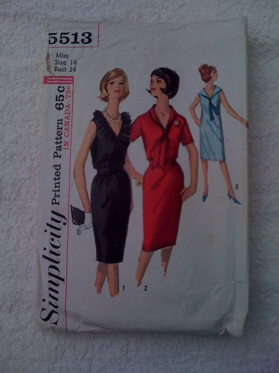 Simplicity Sewiing Pattern 5513 Misses One Piece Dress Size 14 Vintage 60s Sale