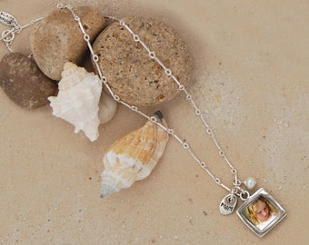 Custom Photo Necklace Pendant with Mom Charm - Personalized Photo Jewelry - Sterling Silver Photo Pendant