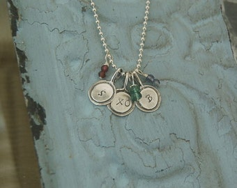Silver Letter Necklace, Silver Initial Necklace, Letter Charm Necklace, Initial Charm Necklace, Hand Stamped Initial Necklace