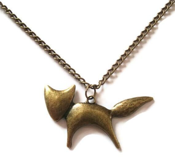 Fox Necklace, Brass Woodland Animal, Bronze Chain
