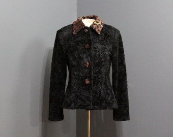 Vintage 1980s Spotted Black Faux Fur Jacket