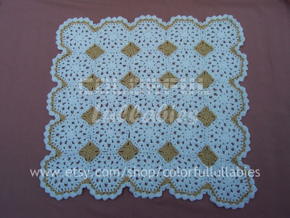 Baby crochet blanket. White octagon afghan. PURITY