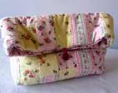 Make up bag - striped floral bag - pastel winceyette flannel - gift for her - mothers day gift