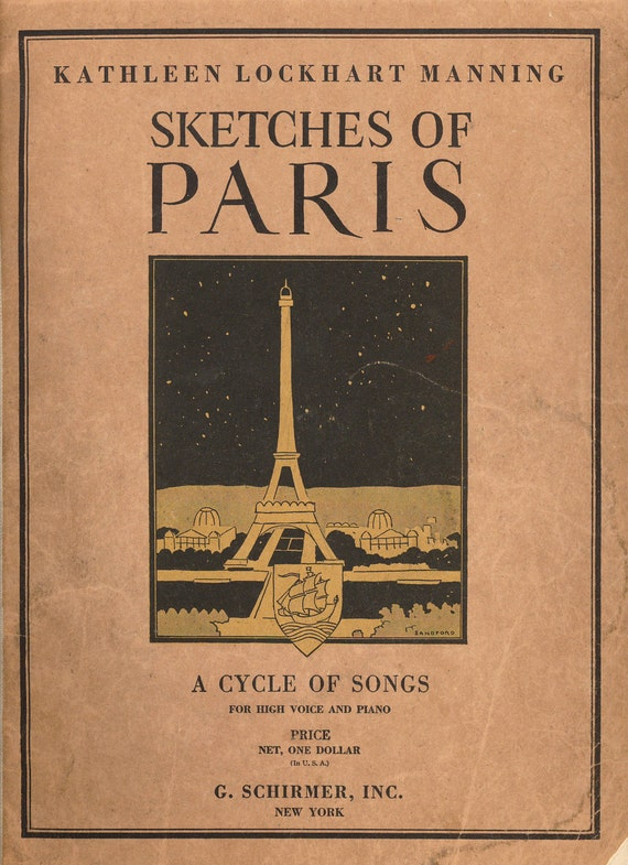 Antique French Sheet Music 1925 Sketches of Paris Book for Scrapbooking, Collecting, Crafting, Collage, Mixed Media Art