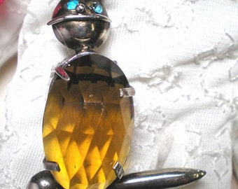 Dress Clip 1930's Rabbit with Faceted Topaz Body   ITEM NO: 15721