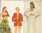 Butterick 1980s Sewing Pattern Jacket Beach Cover up Bikini Bandeau Top Summer Pants Culottes Gauchos Shorts Uncut FF Bust 36