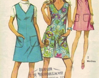 Simplicity Sewing Pattern 1960s  Retro Jumper Mini Dress Sleeveless Summer Shorts One Piece Suit Bust 38