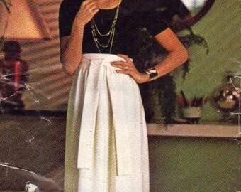 Butterick See & Sew Sewing Pattern 80s Evening Length Wrap Skirt Full Tie Waist Plus Size Uncut Waist 30 Hip 40
