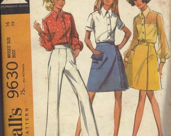 70s Sewing Pattern McCall's Misses Blouse Skirt Pants Retro Style Wrap Skirt Button Front Shirt Bust 38
