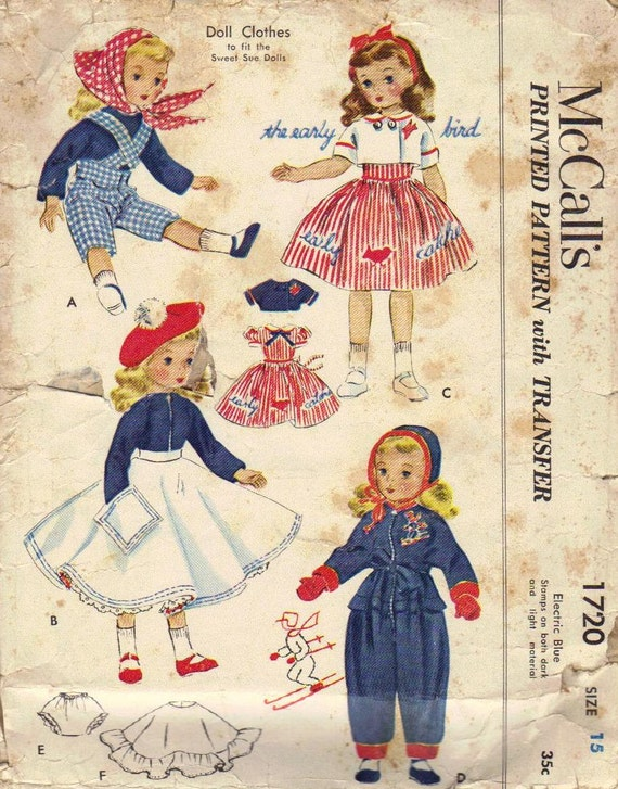 McCall's Sewing Pattern 1950s Sweet Sue Doll Clothes Retro Toys Girls Dolly Dress Coat Hat