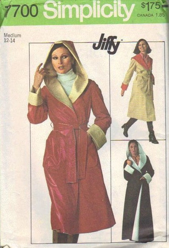 Simplicity Sewing Pattern 1970s Wrap Front Robe Style Coat Hooded Reversible Long Raglan Sleeves Turn Back Cuffs Open Size Uncut