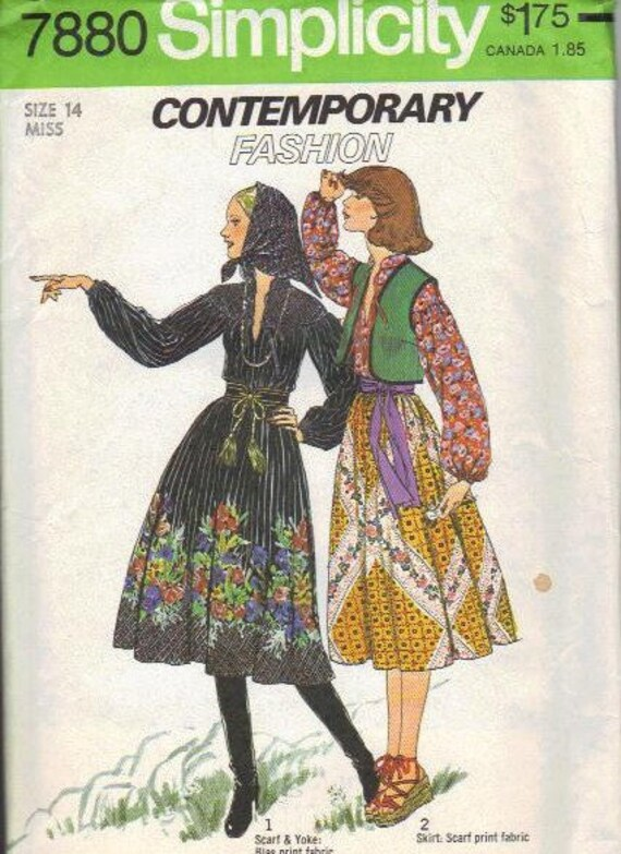 Simplicity Sewing Pattern 1970s Boho Blouse Long Sleeves Vest Full Gathered Skirt Head Scarf Uncut FF Bust 36