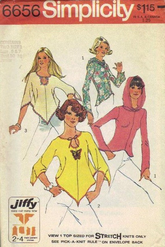 Hippie Boho Fashion 1970s Simplicity Sewing Pattern Pullover Poncho Tunic Misses Top Loose Fit Blouse Hoodie Hooded Shirt Bust 30