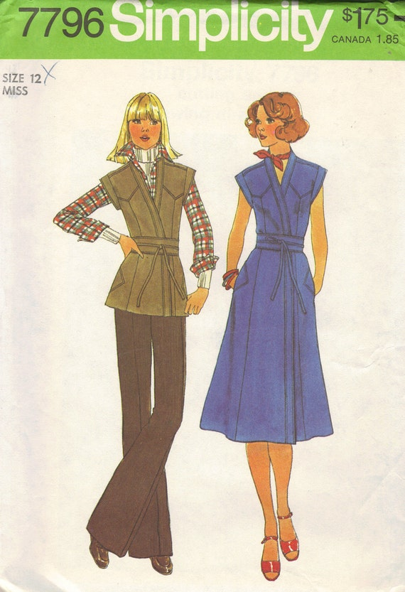 70s Classic Wrap Dress Simplicity Sewing Pattern Tie Front Shirt Cap Sleeves Deep V Neck Blouse Casual Uncut FF Bust 34