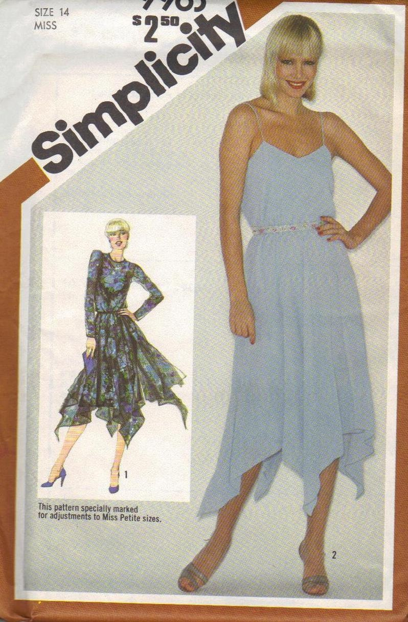 Simplicity Sewing Pattern 1980s Disco Style Dress Handkerchief