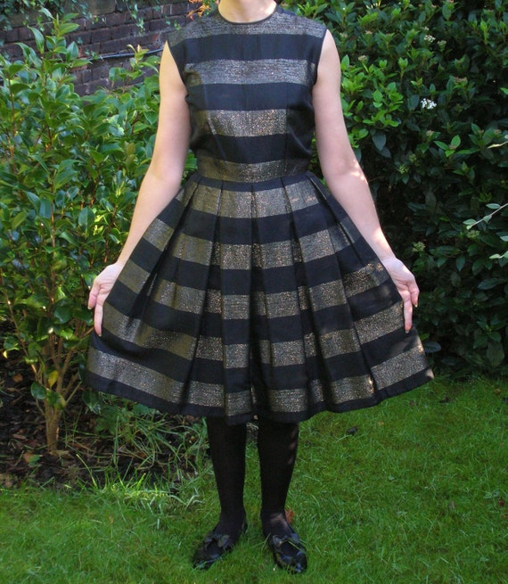 SALE 40% womens vintage little black dress. 1950s cocktail frock with gold lame. Dior new look style occasion or evening wear. Petite size