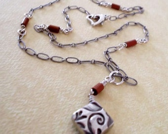 fine silver diamond shaped pendant mahogany beaded sterling silver patterned chain | fine silver pendant | modern artisan jewelry girlthree