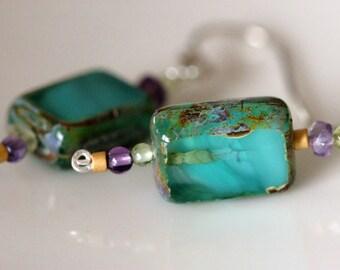 turquoise, czech glass beaded earrings w / amethyst & peridot gemstones   gemstone dangle earrings   handmade jewelry by girlthree
