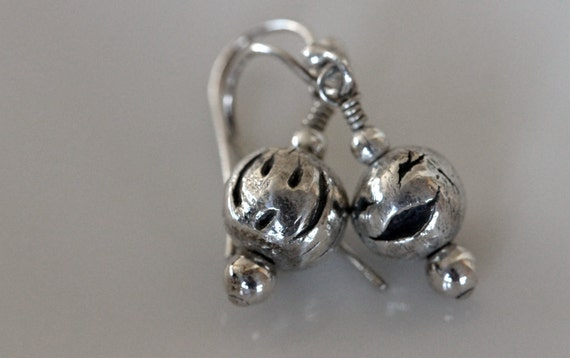 unique artisan jewelry, hand sculpted fine silver happy face bead earrings / solid silver smiley beads / dangle earrings / metalwork jewelry