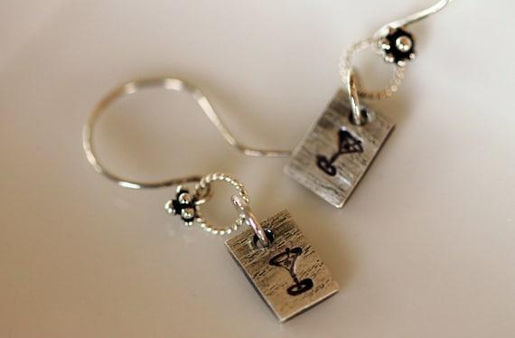 martini earrings, dangle, fine silver, metalwork jewelry by girlthree
