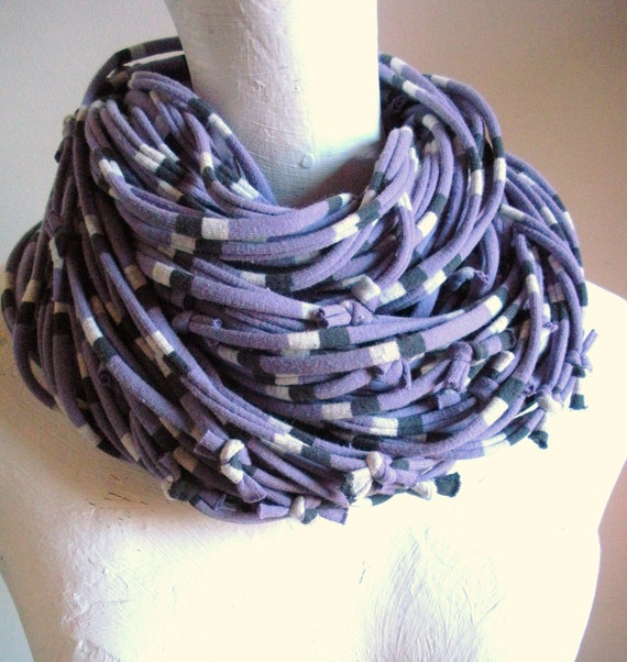 African Violet Infinity Scarf Upcycled Chunky Cowl Scarf Pale Purple Circle Scarf Gray White Stripes Winter Accessories Gifts Under 75
