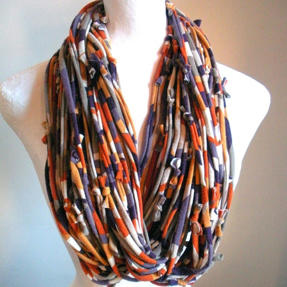 Chunky Infinity Scarf Autumn Fashion Cowl Purple Gold Rust Taupe Geometric Print