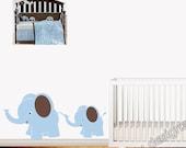 Elephant Safari Wall Decals - Children Decor - Mom and Baby - Carter's Blue Elephants - Safari Wall Art Decor - Boy Nursery