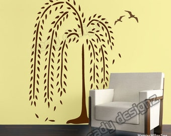 Weeping Willow Tree Wall Decal - Nursery Wall Decals - Home Decor - Modern Wall Art -  Birds and Falling Leaves - 45x67 MDM