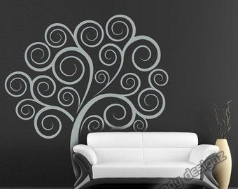 Swirly Tree Wall Decal - Childrens Decor - Nursery Tree Wall Decal - Boy Girl Kids Room - Flourish Swirls - Vinyl Tree Wall Decal - 66x70